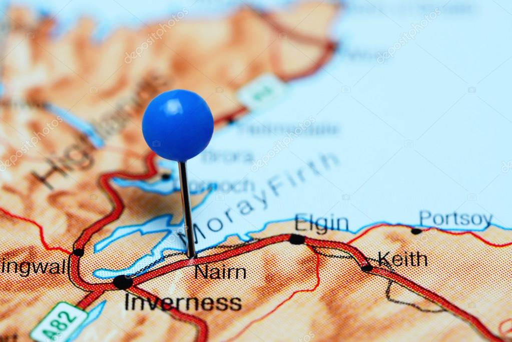 Nairn Scotland Map.Nairn Pinned On A Map Of Scotland Stock Photo C Dk Photos 107440660