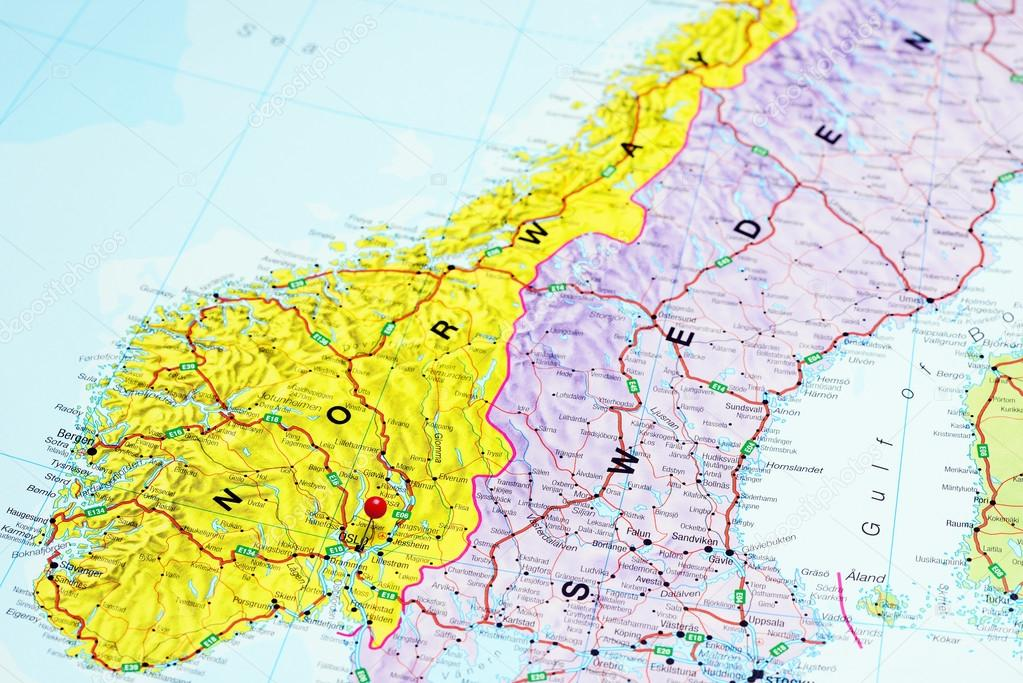 Oslo Pinned On A Map Of Norway Stock Photo C Dk Photos 108120808