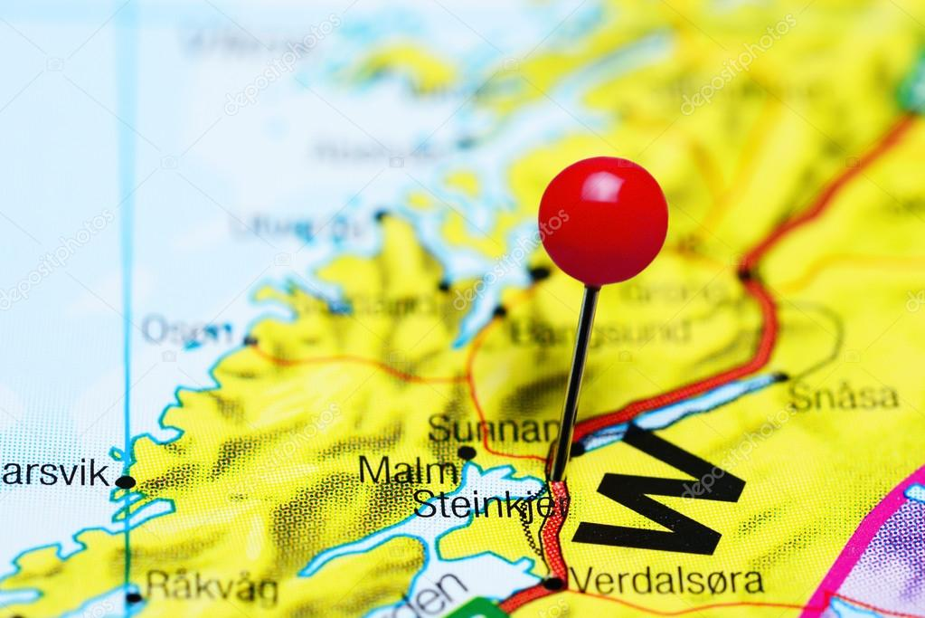 Steinkjer pinned on a map of Norway Stock Photo dkphotos 108534732