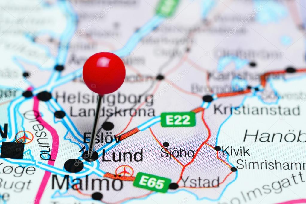Lund pinned on a map of Sweden Stock Photo dkphotos 108912600