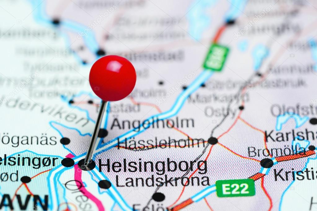 Helsingborg pinned on a map of Sweden Stock Photo dkphotos