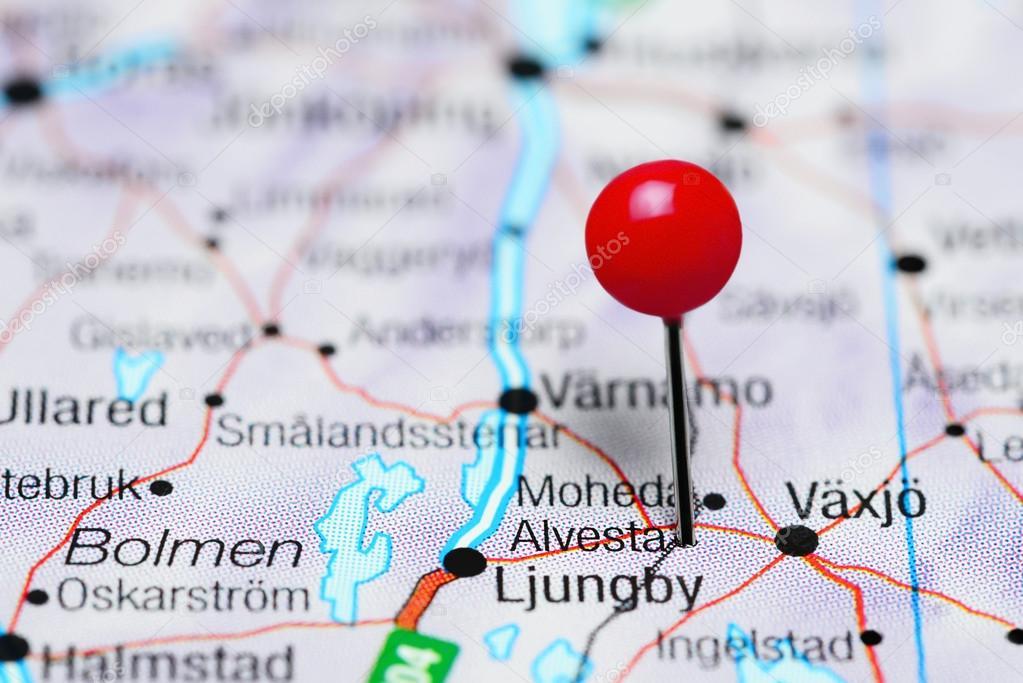 Alvesta cubrió en un mapa de Suecia — Foto de stock