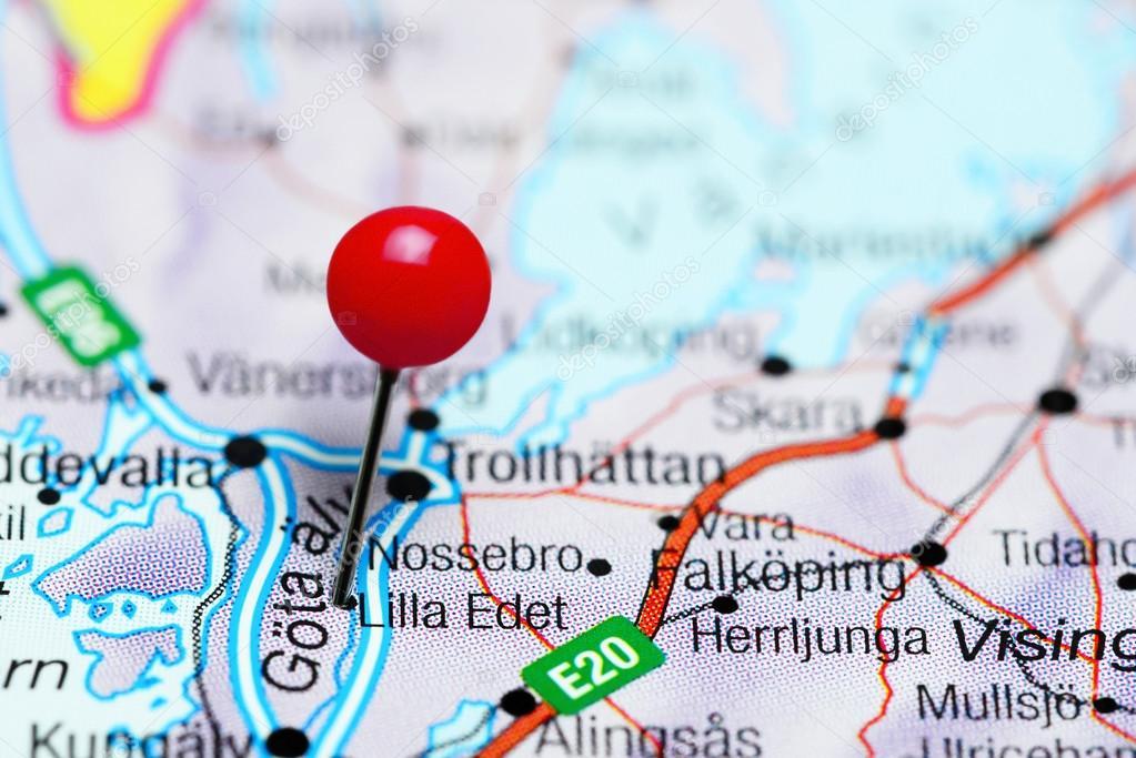 karta över lilla edet Lilla Edet fästs på en karta över Sverige — Stockfotografi  karta över lilla edet