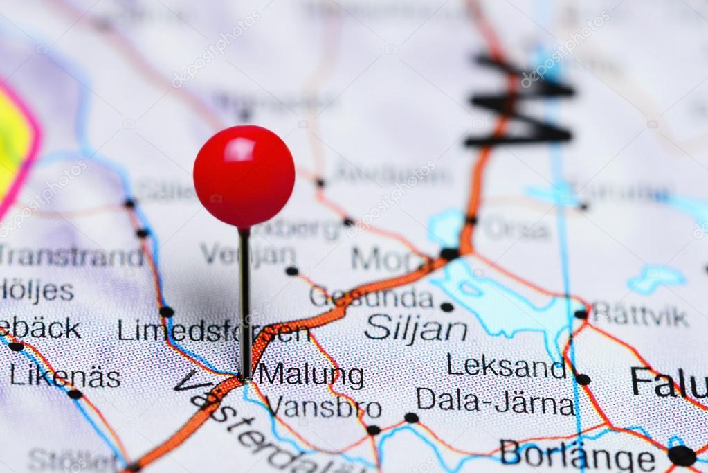karta över malung Malung fästs på en karta över Sverige — Stockfotografi © dk_photos  karta över malung