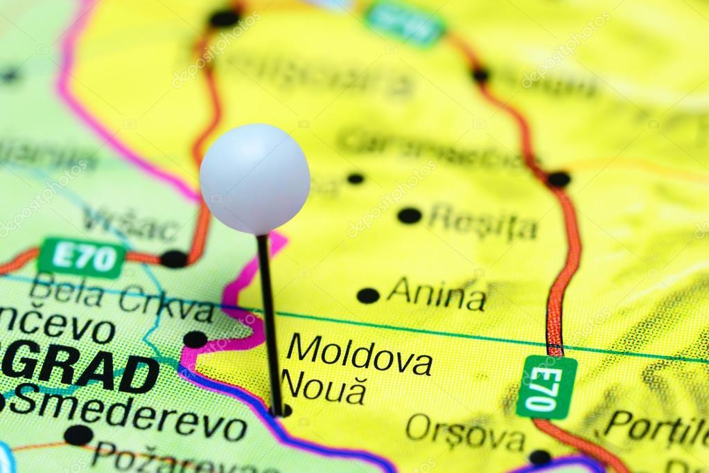 Moldova Noua Pinned On A Map Of Romania Stock Photo C Dk Photos