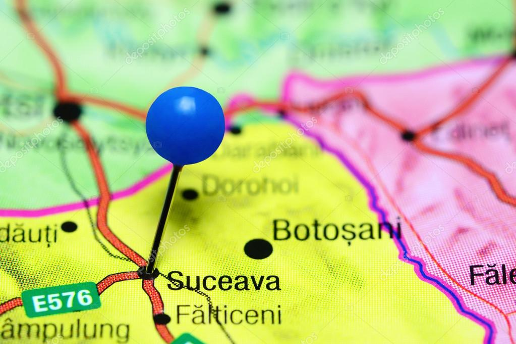 Suceava pinned on a map of Romania Stock Photo dkphotos 110234820