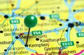 Fotografie Kempten, fixiert auf einer Karte von Deutschland