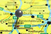 Fotografie Memmingen, fixiert auf einer Karte von Deutschland