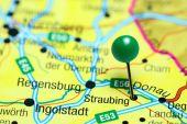Straubing, fixiert auf einer Karte von Deutschland