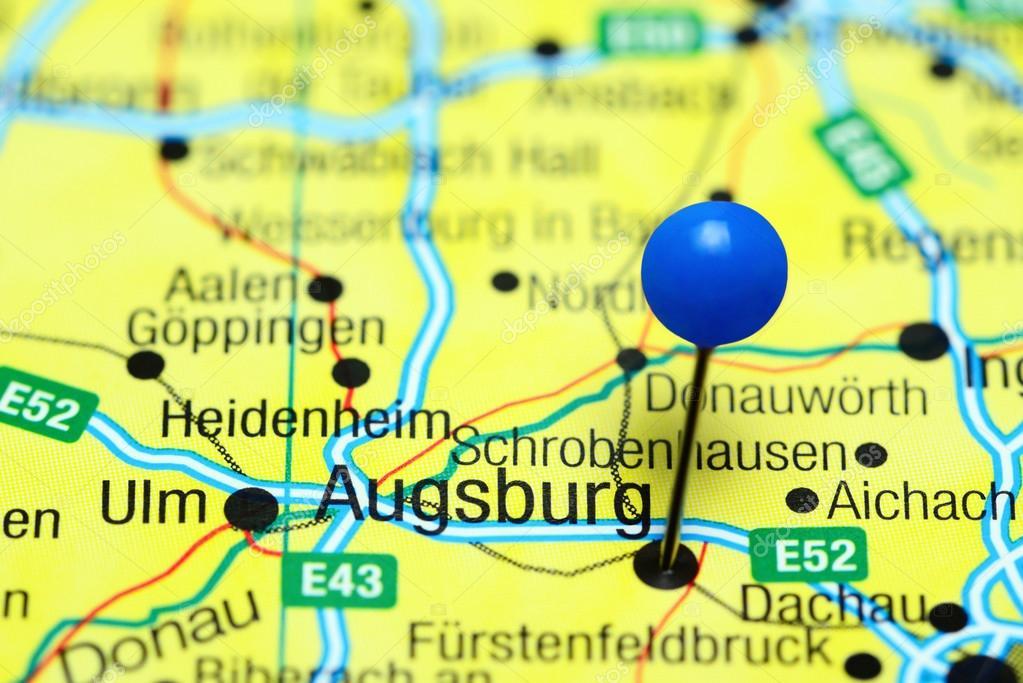 Karte Augsburg.Augsburg Fixiert Auf Einer Karte Von Deutschland