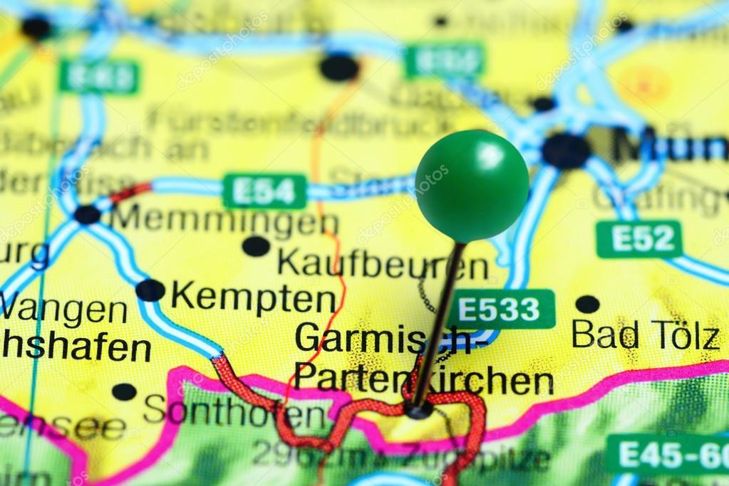 Map Of Germany Garmisch.Garmisch Partenkirchen Pinned On A Map Of Germany Stock Photo