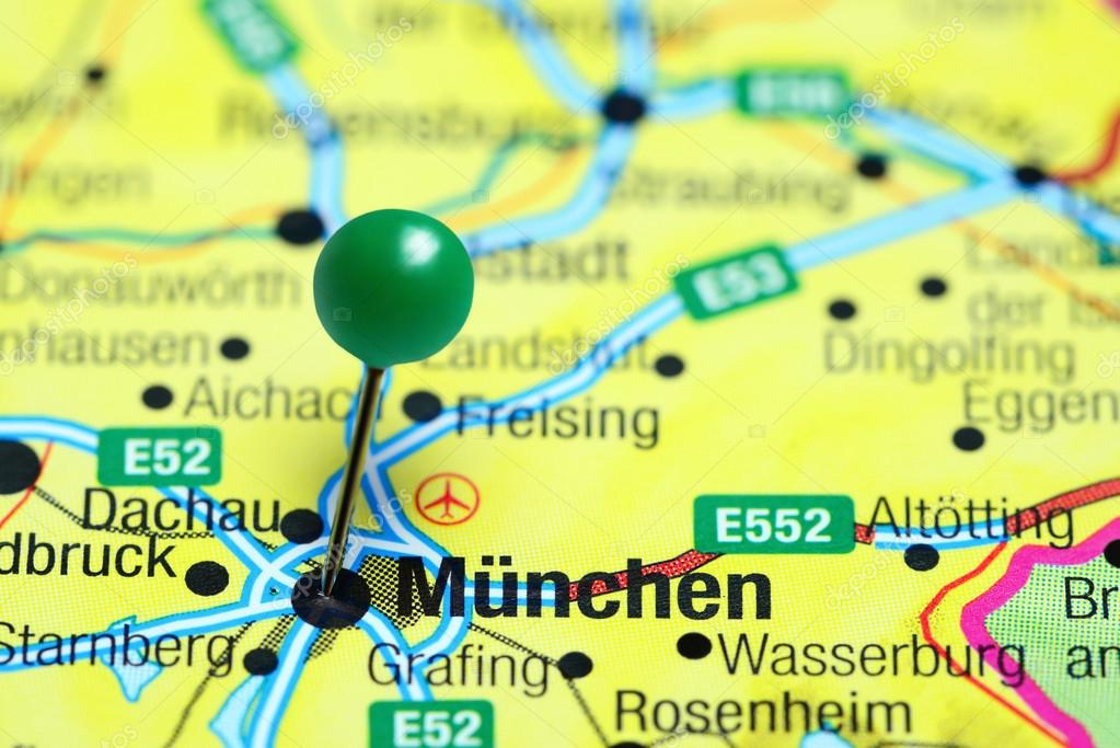 Map Of Germany Showing Munich.Munich Pinned On A Map Of Germany Stock Photo C Dk Photos 110298078