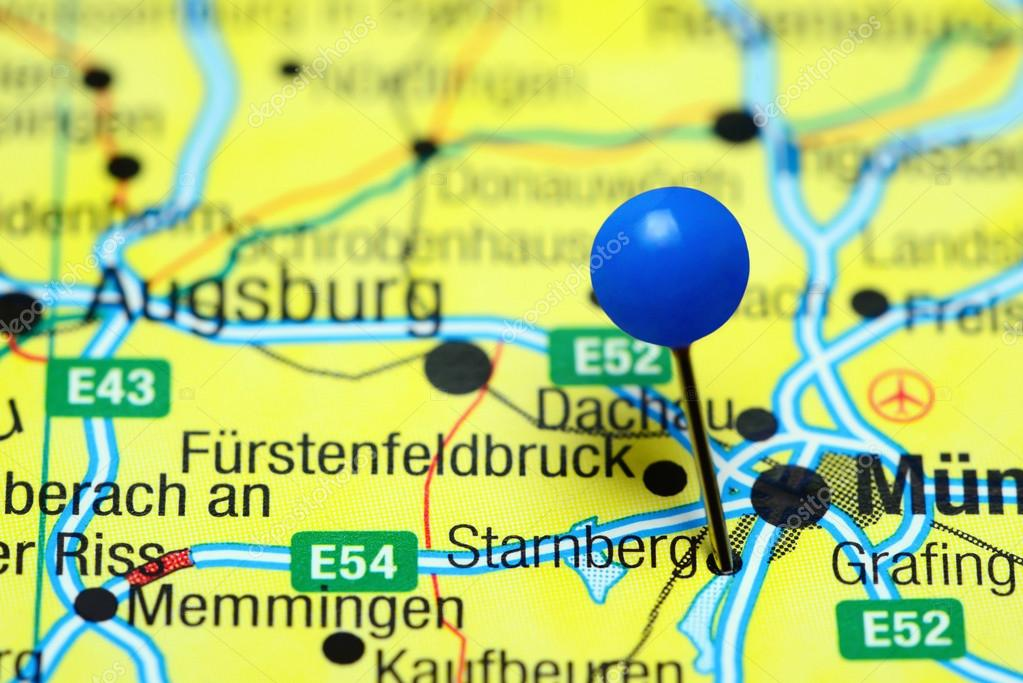 Map Of Germany Memmingen.Starnberg Pinned On A Map Of Germany Stock Photo C Dk Photos