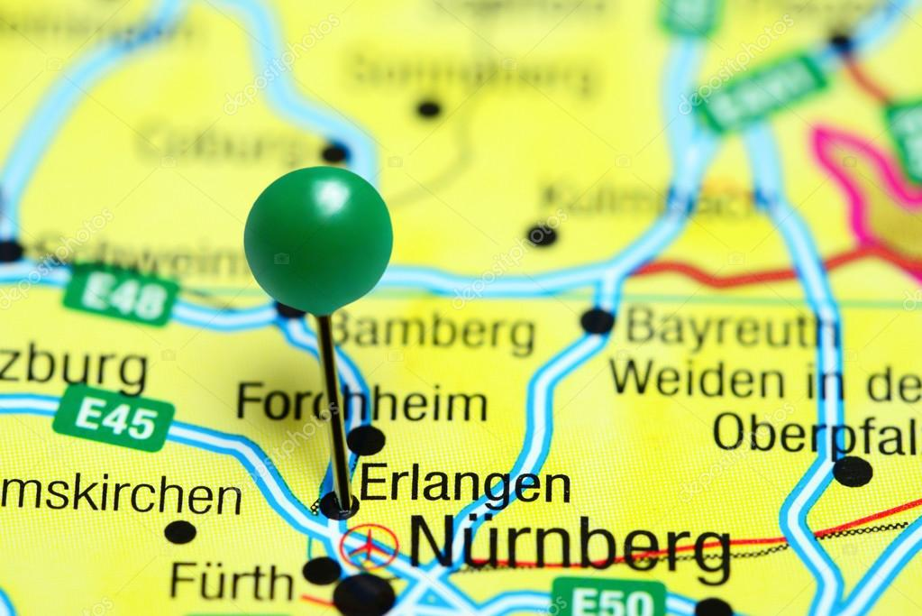 Erlangen pinned on a map of Germany Stock Photo dkphotos 110330206