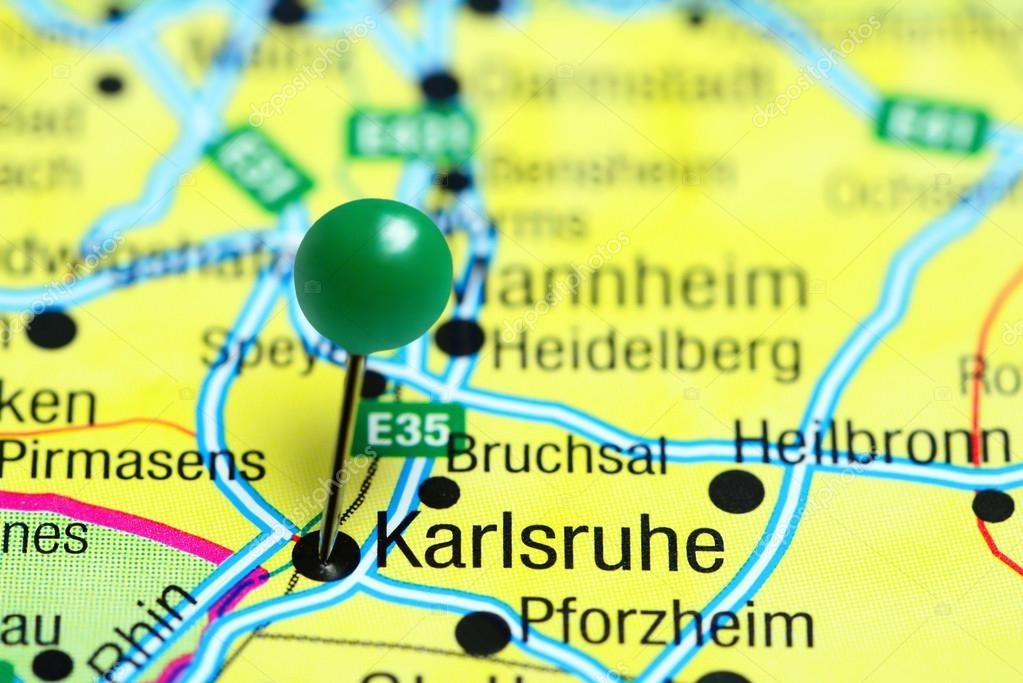 Karlsruhe Map Of Germany.Karlsruhe Pinned On A Map Of Germany Stock Photo C Dk Photos