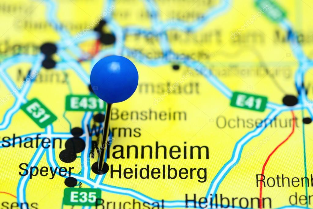 heidelberg pinned on a map of germany stock photo