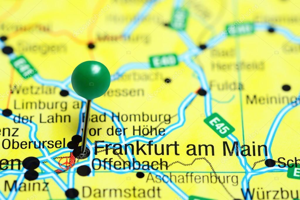 Map Of Germany Frankfurt.Frankfurt Am Main Pinned On A Map Of Germany Stock Photo