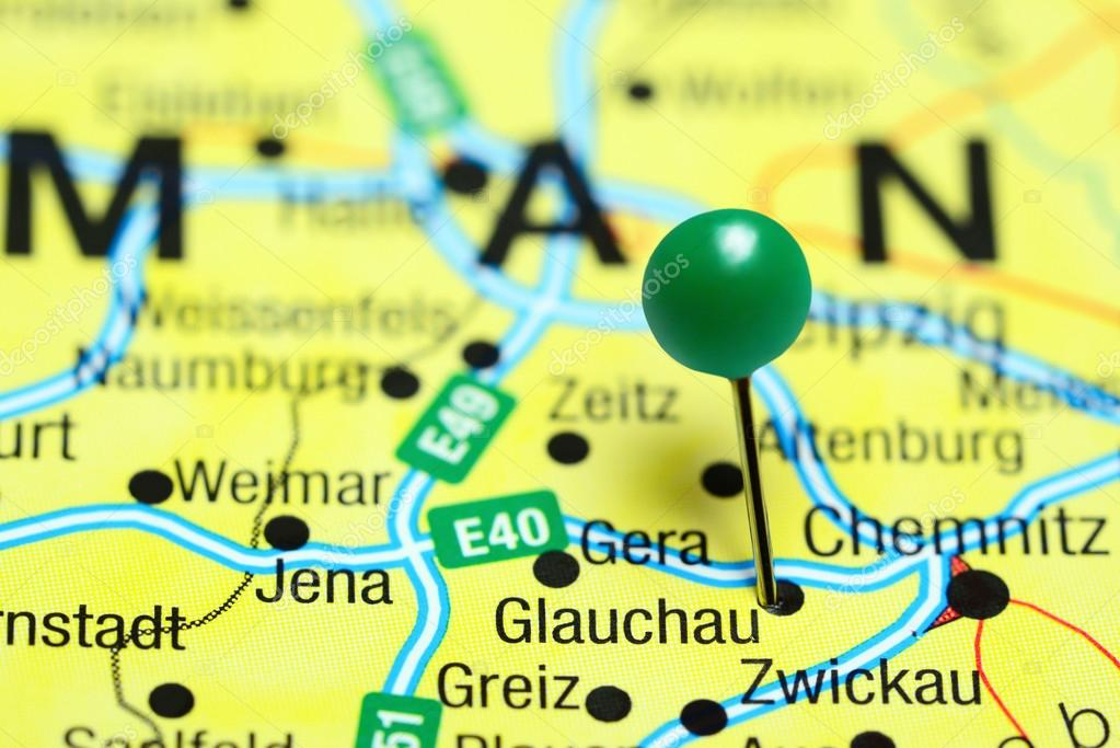 Glauchau Pinned On A Map Of Germany Stock Photo C Dk Photos