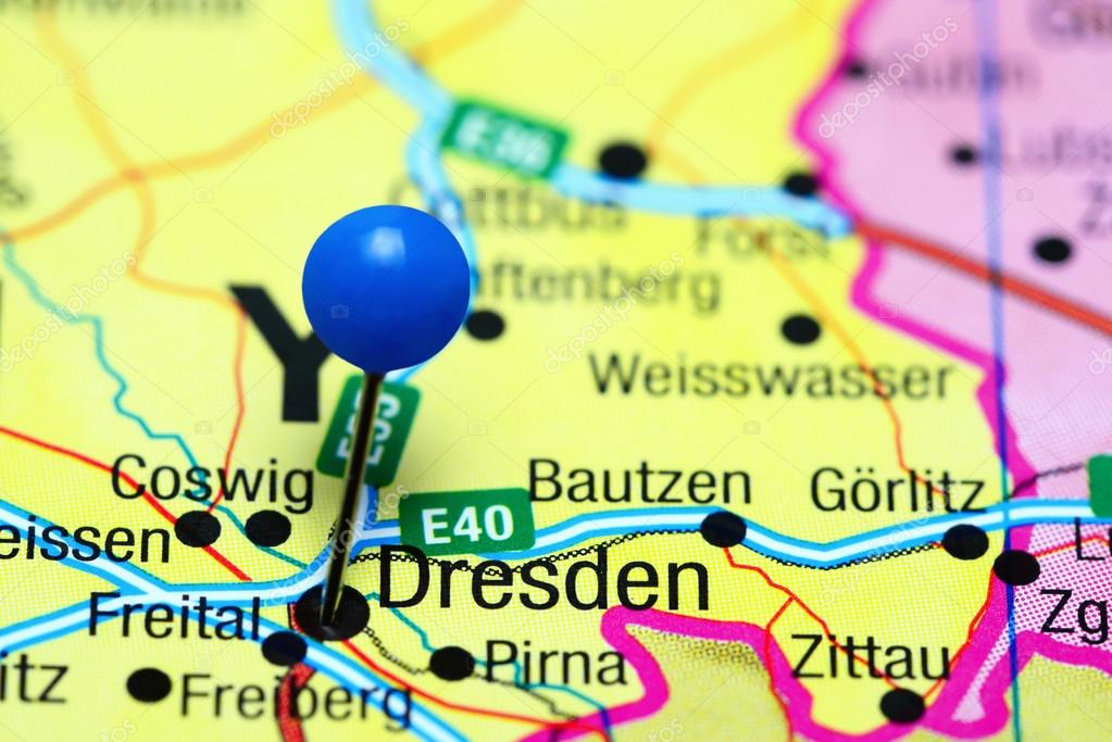 Dresden Pinned On A Map Of Germany Stock Photo C Dk Photos 110495894