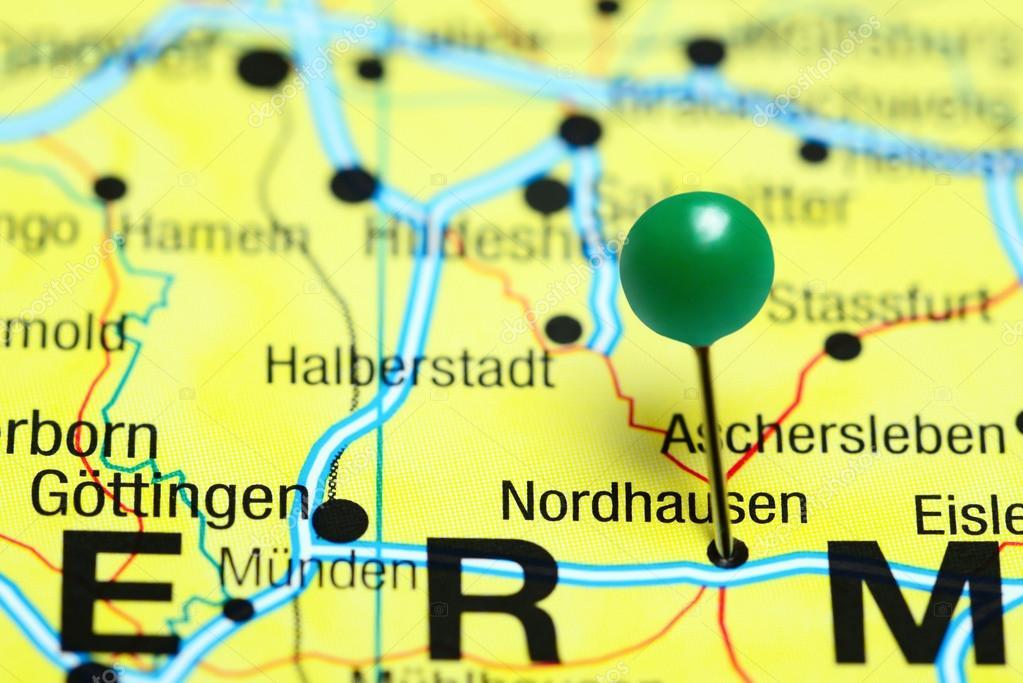Nordhausen Karte.Nordhausen Fixiert Auf Einer Karte Von Deutschland Stockfoto