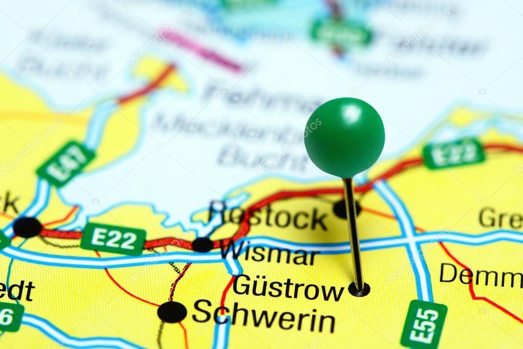 Güstrow Karte.Güstrow Fixiert Auf Einer Karte Von Deutschland Stockfoto