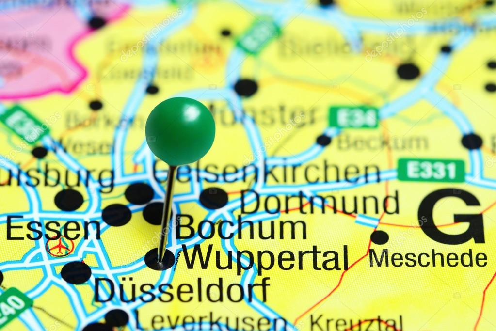 Map Of Germany Gelsenkirchen.Wuppertal Pinned On A Map Of Germany Stock Photo C Dk Photos