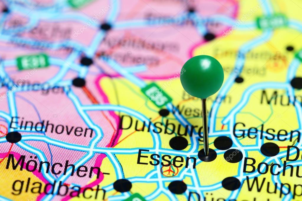 Karte Essen.Essen Fixiert Auf Einer Karte Von Deutschland Stockfoto