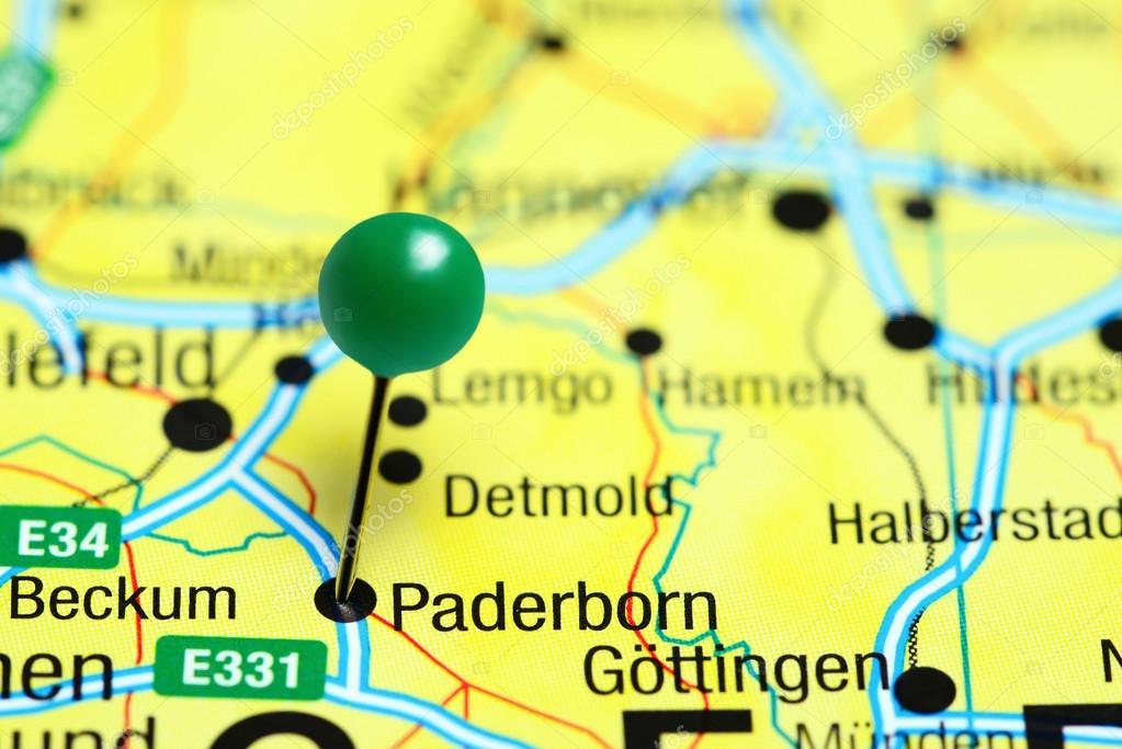 Karte Paderborn.Paderborn Fixiert Auf Einer Karte Von Deutschland Stockfoto