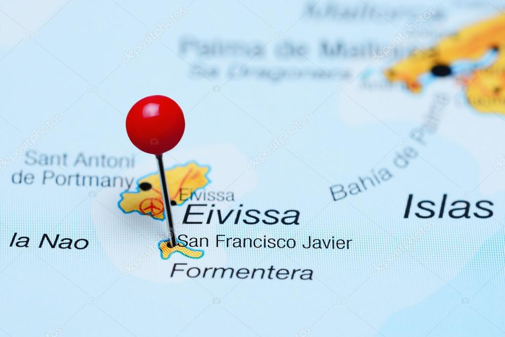 Map Of Javier Spain.San Francisco Javier Pinned On A Map Of Spain Stock Photo