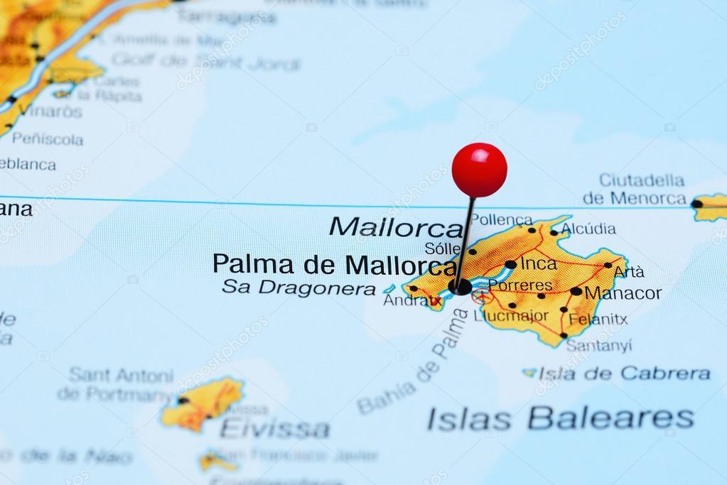 palma de maiorca no mapa Fez o PIN em Palma de Maiorca no mapa da Espanha — Fotografias de  palma de maiorca no mapa