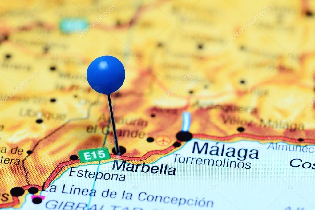 mapa espanha marbella Marbella, preso no mapa da Espanha — Fotografias de Stock  mapa espanha marbella