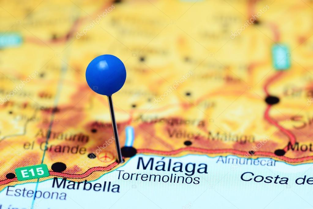 Torremolinos Vastgemaakt Op Een Kaart Van Spanje Stockfoto