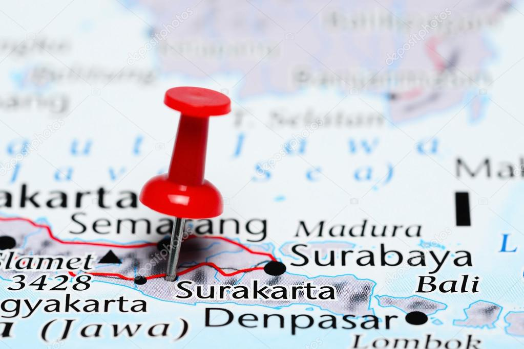 Surakarta pinned on a map of Indonesia — Stock Photo ...