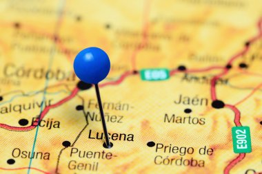 Lucena pinned on a map of Spain