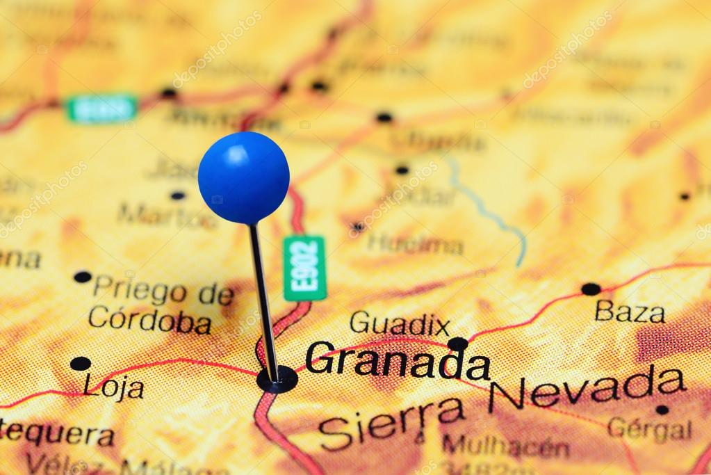 Map Of Spain Granada.Granada Pinned On A Map Of Spain Stock Photo C Dk Photos 112087974