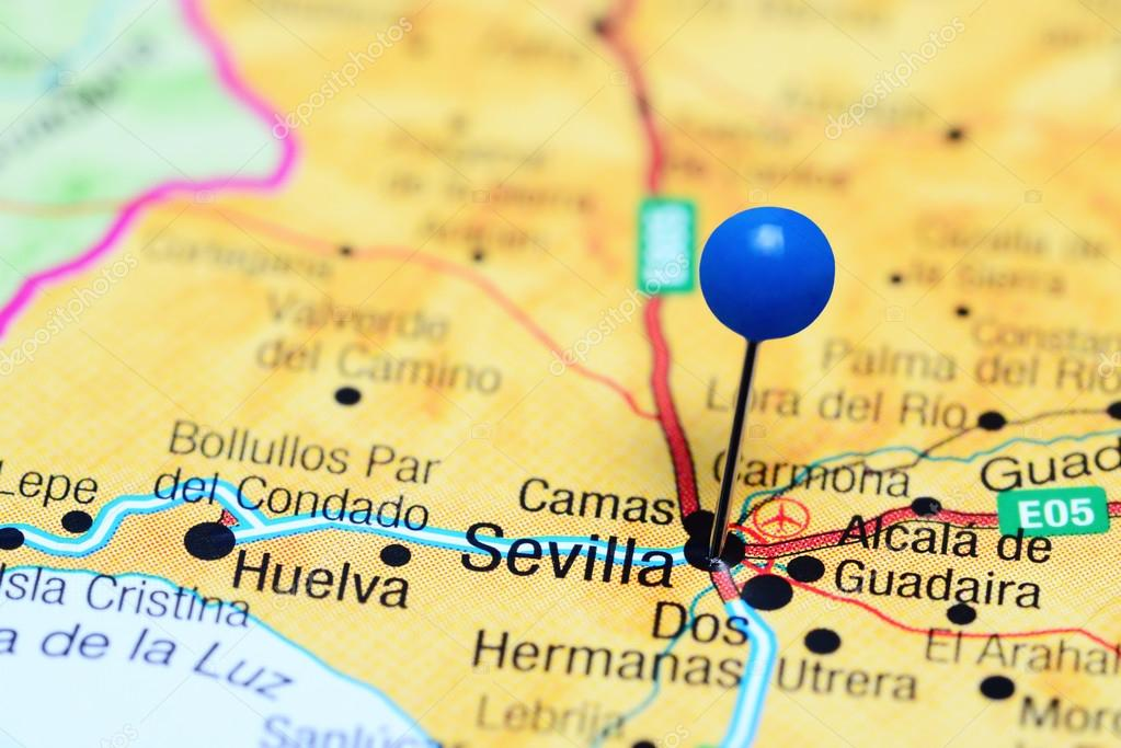 Sevilla pinned on a map of Spain — Stock Photo © dk_photos ...