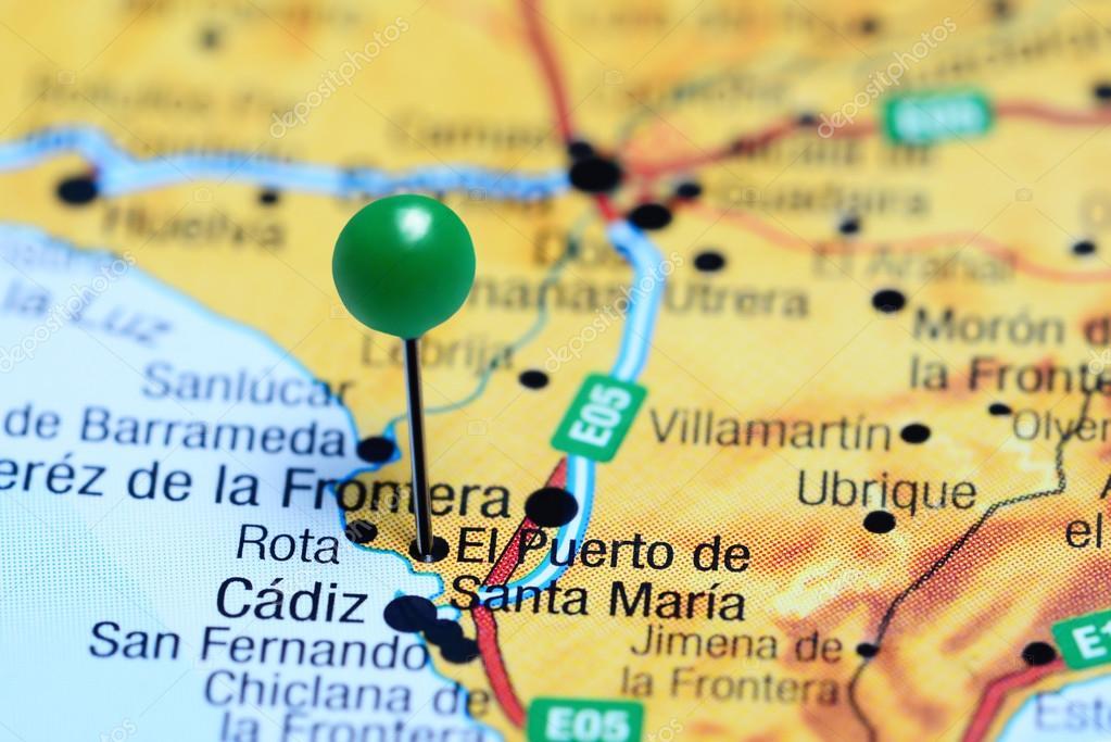 El Puerto De Santa Maria Pinned On A Map Of Spain Stock Photo