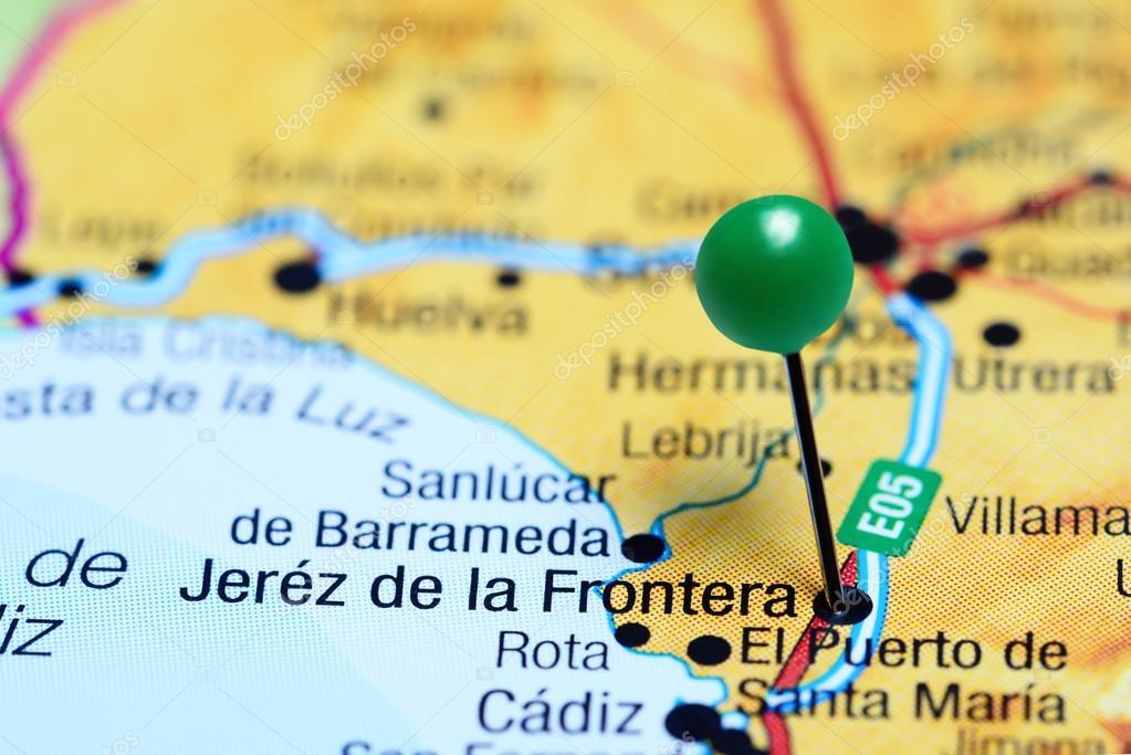 Jerez De La Frontera Karte.Jerez De La Frontera Fixiert Auf Einer Karte Von Spanien Stockfoto