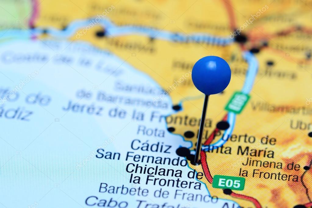 Jerez De La Frontera Karte.Chiclana De La Frontera Fixiert Auf Einer Karte Von Spanien
