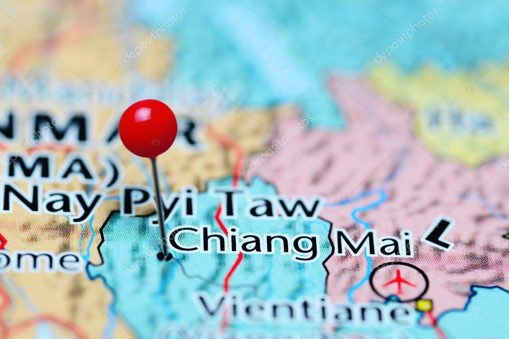 Chiang Mai pinned on a map of Thailand — Stock Photo © dk_photos ...