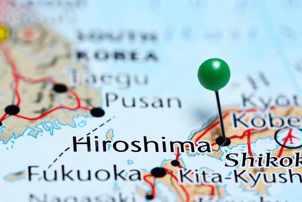 Hiroshima Map Of Japan.Hiroshima Pinned On A Map Of Japan Stock Photo C Dk Photos 112420576