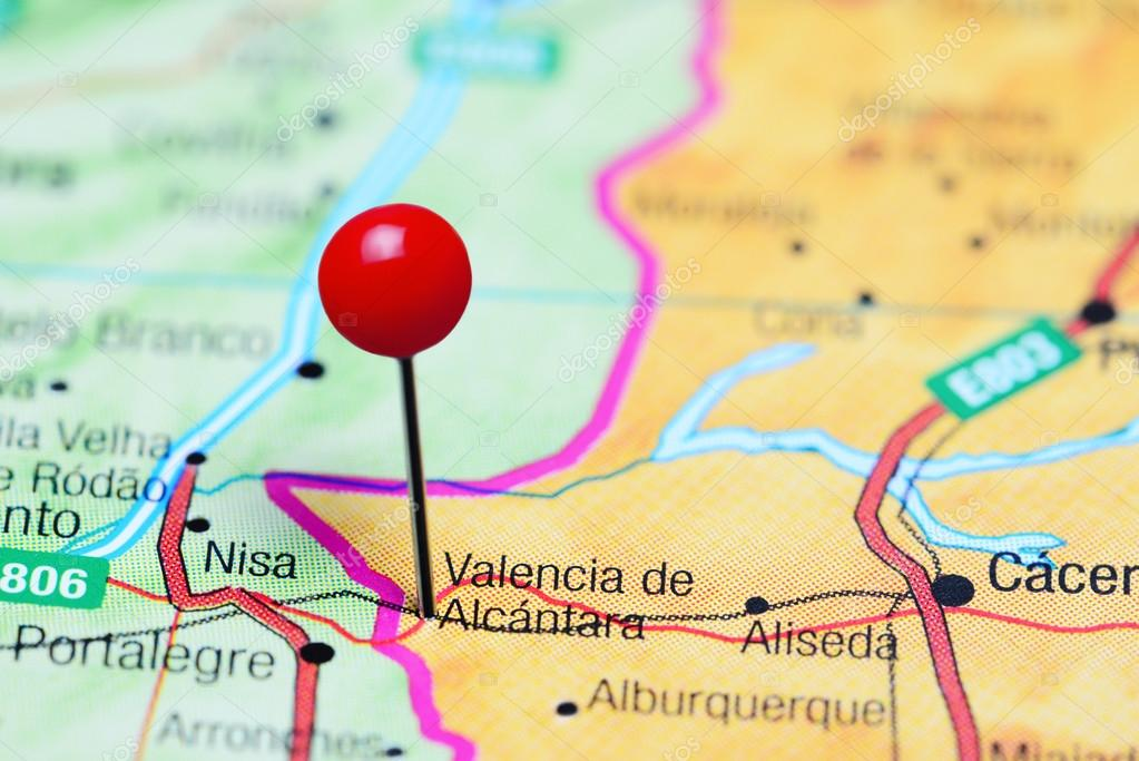 Valencia De Alcantara Pinned On A Map Of Spain Stock Photo