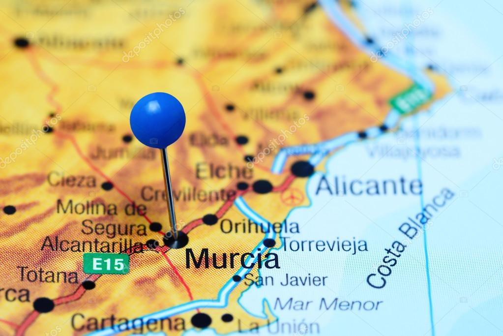 Map Of Javier Spain.Murcia Pinned On A Map Of Spain Stock Photo C Dk Photos 113009004