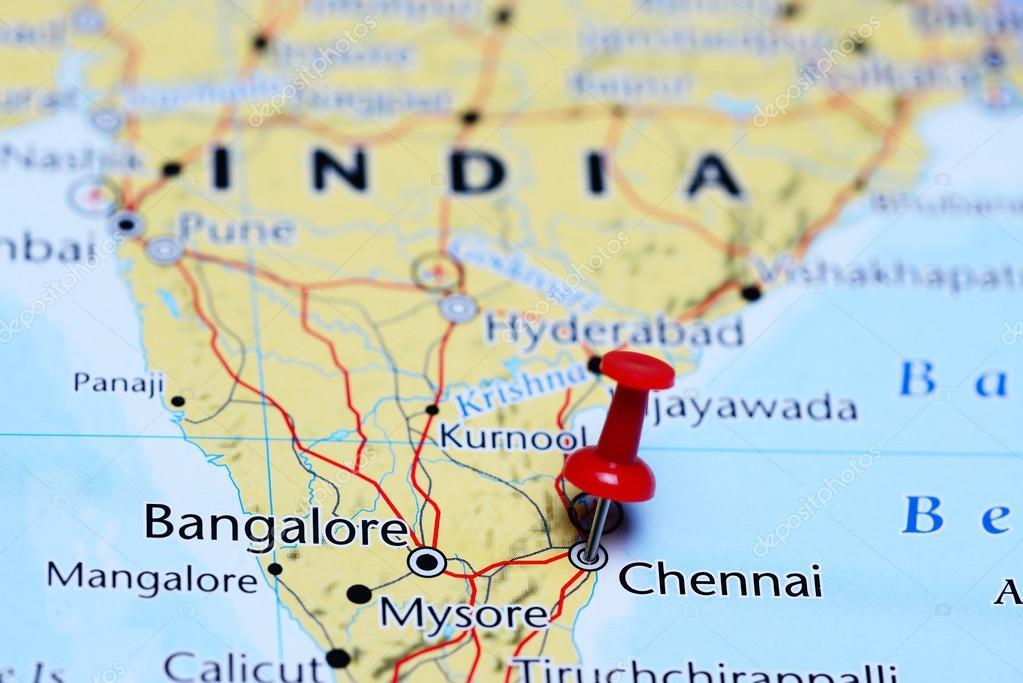 Madras Inde Carte.Chennai A Effectue Le Tombe Sur Une Carte De L Inde