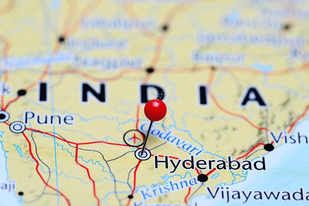 Hyderabad Pinned On A Map Of India Stock Photo C Dk Photos 113189594