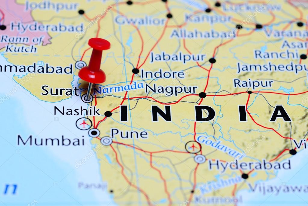 Surat pinned on a map of India Stock Photo dkphotos 113189746