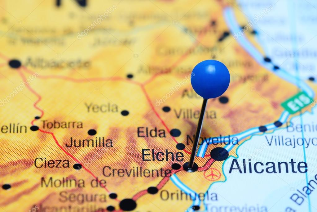 Elche pinned on a map of Spain Stock Photo dkphotos 113200730