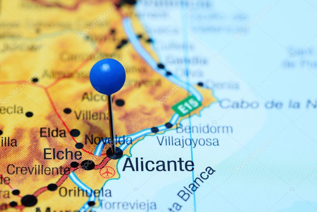 Alicante Map Of Spain.Alicante Pinned On A Map Of Spain Stock Photo C Dk Photos 113200744