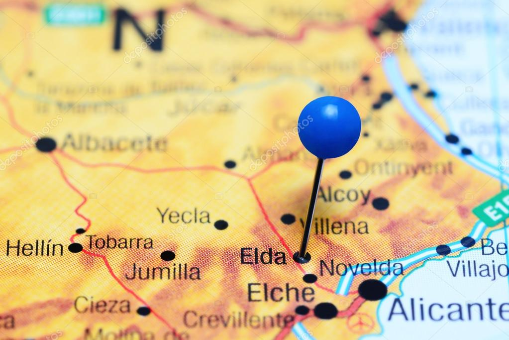 Map Of Yecla Spain.Elda Pinned On A Map Of Spain Stock Photo C Dk Photos 113200774