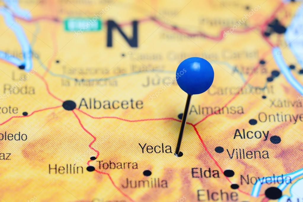 Map Of Yecla Spain.Yecla Pinned On A Map Of Spain Stock Photo C Dk Photos